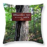 Appalachian Trail Sign North Throw Pillow