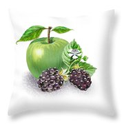 Apple And Blackberries Throw Pillow