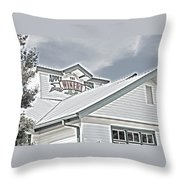 Apple Barn Winery Sign In Grayscale Throw Pillow