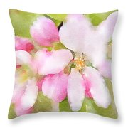 Apple Blossom Watercolour Throw Pillow