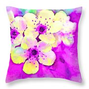 Apple Blossoms In Magenta -  Digital Paint Throw Pillow
