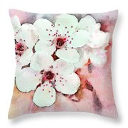 Apple Blossoms Pink - Digital Paint Throw Pillow