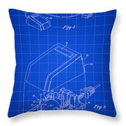 Apple Mouse Patent 1984 - Blue Throw Pillow