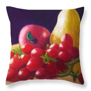Apple Pear Grapes Throw Pillow