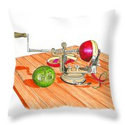 1909 Vintage Apple Peeler Hand Crank Throw Pillow