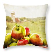 Apple Picking Time Throw Pillow by Edward Fielding