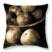 Apple Still Life Black And White Throw Pillow