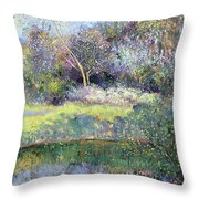 Apple Tree And Crescent Moon Throw Pillow