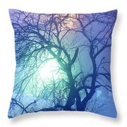 Apple Tree In Winter Fog Throw Pillow