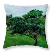Apple Trees By The Sea Trouville Throw Pillow