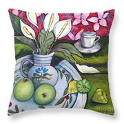 Apples And Lilies Throw Pillow