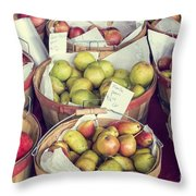Apples And Pears For Sale Throw Pillow
