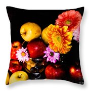 Apples And Suflowers Throw Pillow