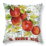 Apples On Damask Throw Pillow