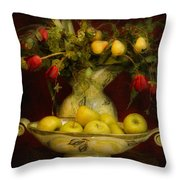 Apples Pears And Tulips Throw Pillow