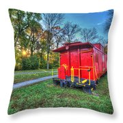 Appomattox Caboose At Sun Rise Throw Pillow