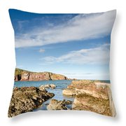 Approach To St Abbs Harbour Throw Pillow