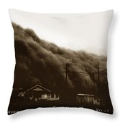 Approaching Dust Storm In Middle West By Frank D. Conard Circa 1938 Throw Pillow
