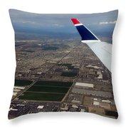 Approaching Phoenix Az Wing Tip View Throw Pillow