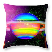 Approaching Saturn From The East Throw Pillow