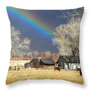 Approaching Storm At Cattle Ranch Throw Pillow