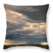 Approaching Storm On Country Road Throw Pillow