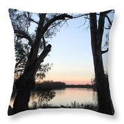 Approaching Sunset Silhouettes Throw Pillow