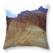 Approaching The Jagged Peaks In Golden Canyon In Death Valley National Park-california  Throw Pillow