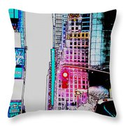 Approaching Times Square Throw Pillow