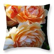 Apricot Dahlias Throw Pillow