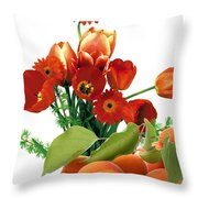 Apricots And Red Roses Throw Pillow