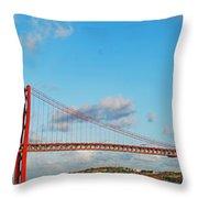 April 25th Bridge In Lisbon Throw Pillow