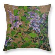 April Lilacs Throw Pillow