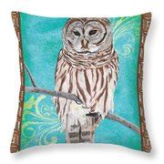 Aqua Barred Owl Throw Pillow