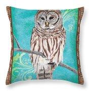 Aqua Barred Owl Throw Pillow