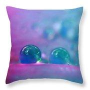 Aqua Blue Water Droplets Throw Pillow