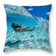 Aqua Dive Throw Pillow