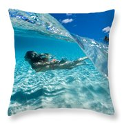 Aqua Dive Throw Pillow