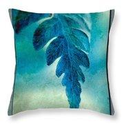 Aqua Fern Throw Pillow