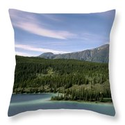 Aqua Green Mountain Lake Throw Pillow