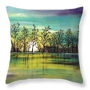 Aqua Sunset Throw Pillow