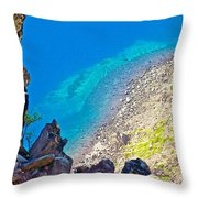 Aquamarine Shoreline At North Junction Of Crater Lake In Crater Lake National Park-oregon Throw Pillow