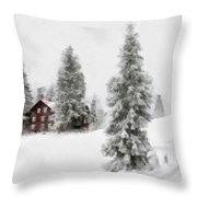 Aquarell - Beautiful Winter Landscape With Trees And House Throw Pillow