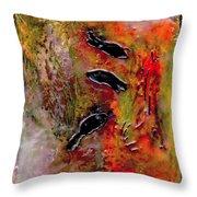 Aquarium Encaustic Throw Pillow