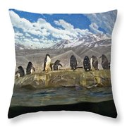 Aquarium Penguins Line Dance Throw Pillow