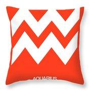 Aquarius Zodiac Sign White On Orange Throw Pillow