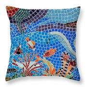 Aquatic Mosaic Tile Art Throw Pillow