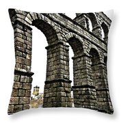 Aqueduct Of Segovia - Spain Throw Pillow by Juergen Weiss