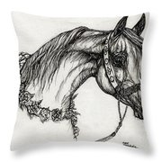 Arabian Horse Drawing 22 Throw Pillow