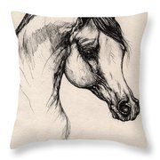 Arabian Horse Drawing 24 Throw Pillow